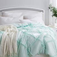 BYB Hint of Mint Gathered Ruffles Handcrafted Series Comforter (Shams Not Included)