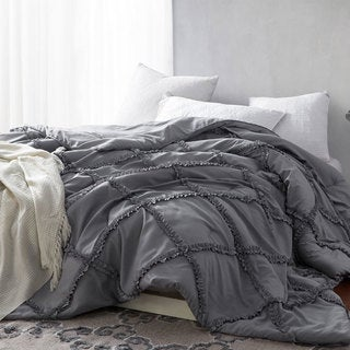 Alloy Grey Gathered Ruffles Handcrafted Series Comforter (Shams Not Included)