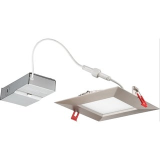 """Lithonia Lighting 14W Ultra Thin 6"""" Square Dimmable Recessed Ceiling Light, 4000K, Brushed Nickel with Smooth Trim"""