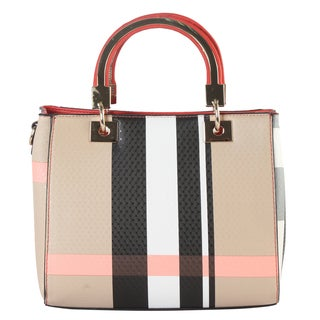 Diophy Plaid Faux Leather Medium Structured Top-handle Handbag