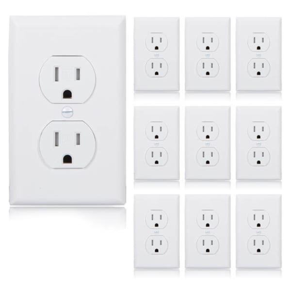 Shop maxxima standard tamper resistant duplex receptacle wall outlet maxxima standard tamper resistant duplex receptacle wall outlet 15a white wall plates included pack publicscrutiny Image collections