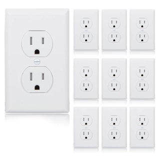 Maxxima Standard Tamper Resistant Duplex Receptacle Wall Outlet 15A White, Wall Plates Included (Pack of 10) - White