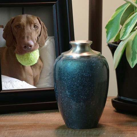 High Gloss Pet Urn, Blue - Medium