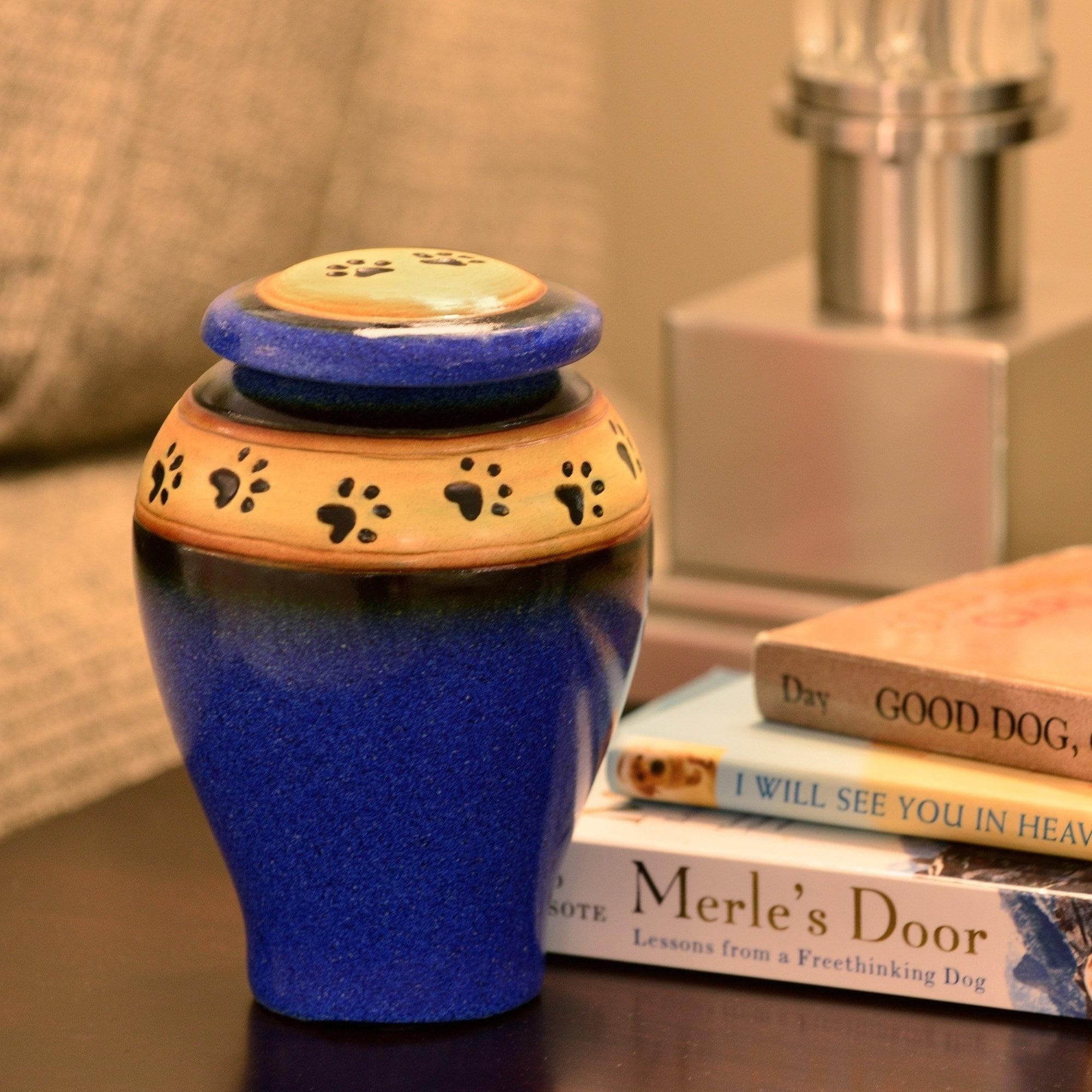 Ceramic Paw Print Pet Urn, Blue - Small