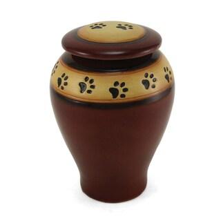 Red Ceramic Large Paw Print Pet Urn