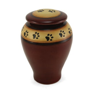 Red Ceramic Large Paw Print Pet Urn