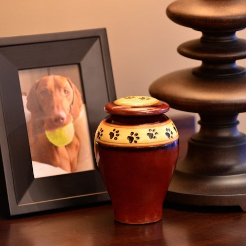 Ceramic Paw Print Pet Urn, Red - Medium