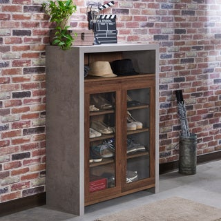 Furniture of America Claymont Industrial Cement-like Multi-shelf Storage Shoe Cabinet