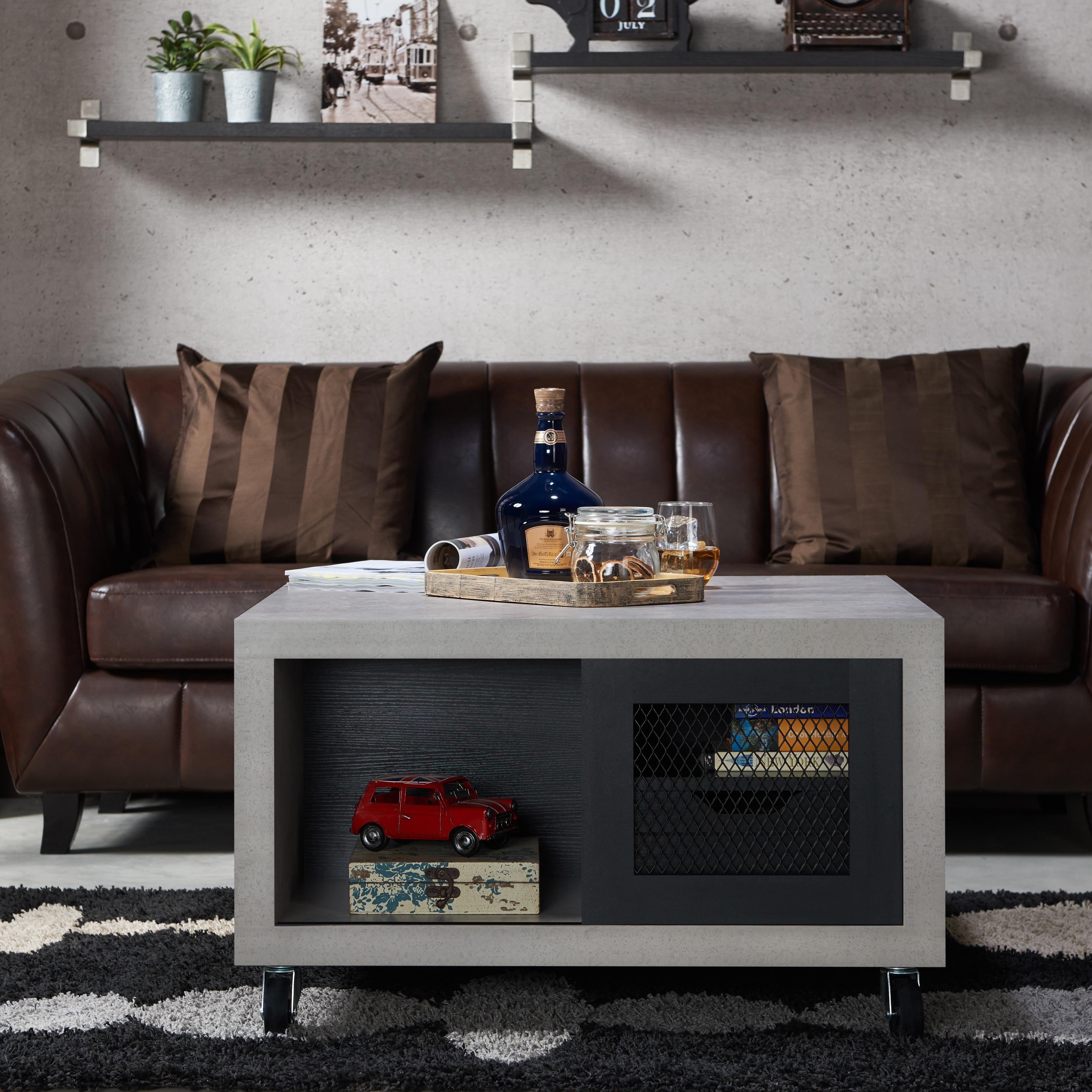 Clayton Industrial Multi-storage Coffee Table By FOA