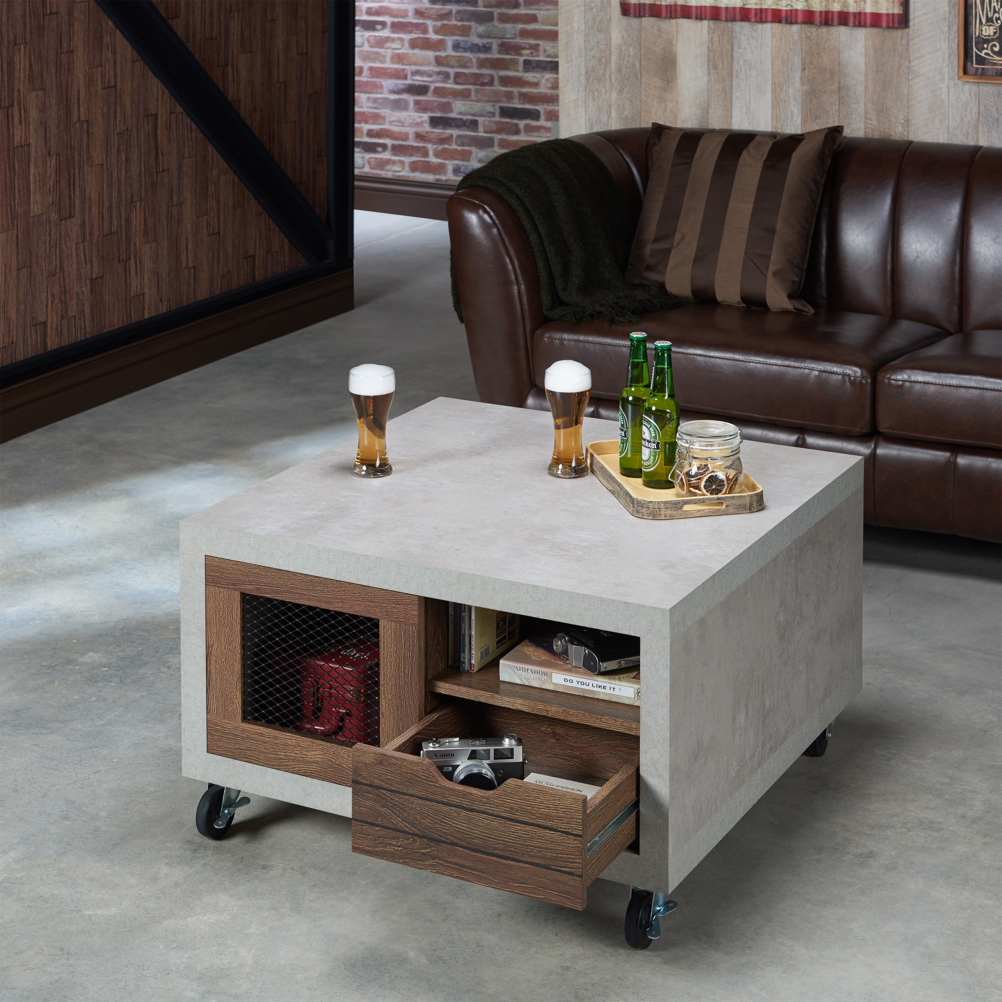 Clayton Coffee Table: Clayton Industrial Multi-storage Coffee Table By FOA