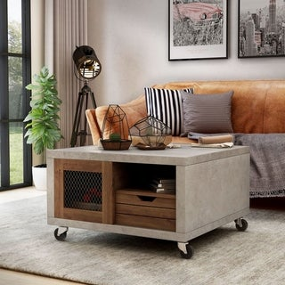Furniture of America Clayton Industrial Cement-like Multi-storage Coffee Table