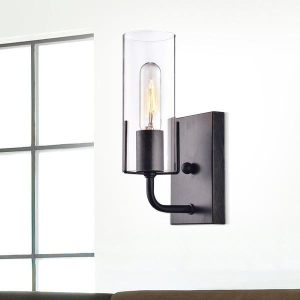 Alfreda Antique Black Wall Sconce with Clear Glass Cylinder. Opens flyout.