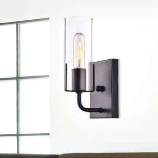 Alfreda Antique Black Wall Sconce with Clear Glass Cylinder - N/A