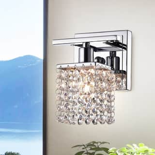 Bathroom Sconce Lighting. Ivana Chrome and Crystal Mini Wall Sconce Lights For Less  Overstock com