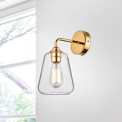 Anastasia Shiny Gold Finish Iron Wall Sconce with Clear Glass Shade