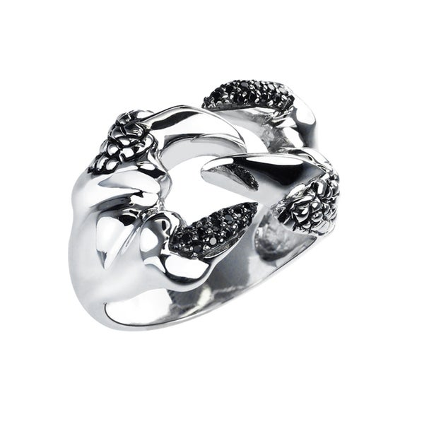 Sterling Silver Snake Fang Ring with Black Spinels