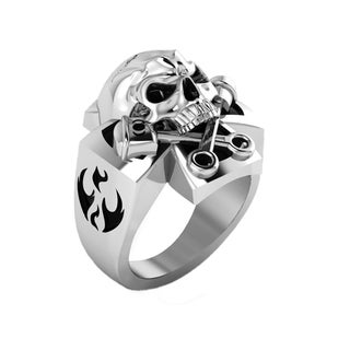 Sterling Silver Evil Eye Skull Ring