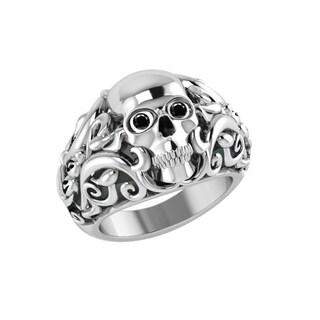 Solid Sterling Silver Handmade Skull Ring with Vines for Birthday, Anniversary and Father's Day