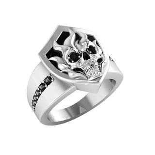 Sterling Silver Flaming Skull Shield Ring - Black (5 options available)
