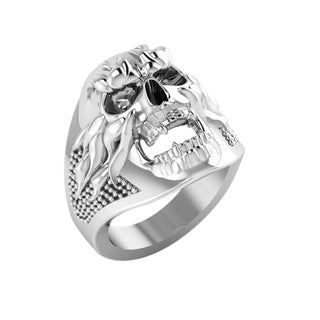 White Sterling Silver Men's Skull Ring