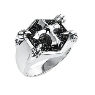 Black Spinel Sterling Silver Men's Fashion Ring