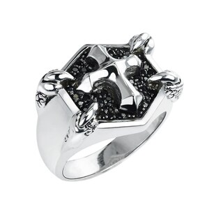 Belinda Jewelz Sterling Silver Cross Ring with Spinels - Black