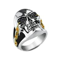 Belinda Jewelz Two-tone Solid Sterling Silver Skull Ring with Chain Details - Black