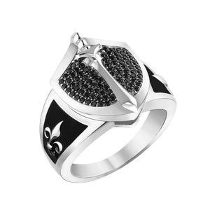 Men's Sterling Silver Black Spinel Knight in Shining Armor Ring