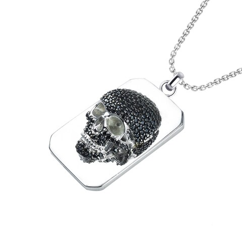"Sterling Silver Black Spinel Skull Necklace with 24"" Solid Sterling Silver Curb Chain"