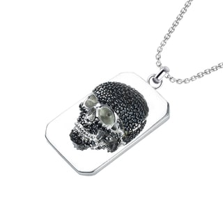 Sterling Silver Black Spinel Skull Necklace