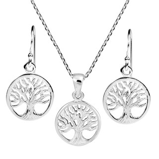 Retro Style Tree of Life Symbol .925 Sterling Silver Earrings Necklace Set (Thailand)