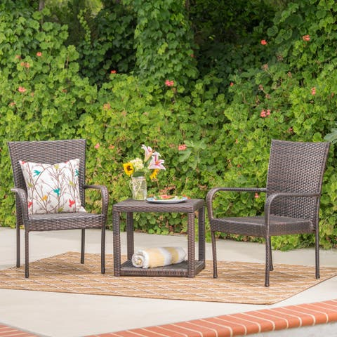 Hammond Outdoor 3-Piece Wicker Stacking Chair Chat Set by Christopher Knight Home