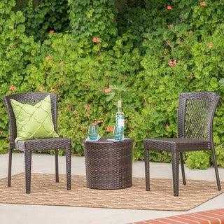 Ashton Outdoor 3-Piece Wicker Stacking Chair Chat Set by Christopher Knight Home
