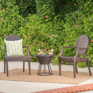 Harrison Outdoor 3-Piece Wicker Stacking Chair Chat Set by Christopher Knight Home
