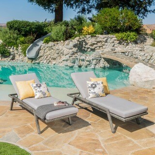 Felton Outdoor Wicker Chaise Lounge with Cushion (Set of 2) by Christopher Knight Home