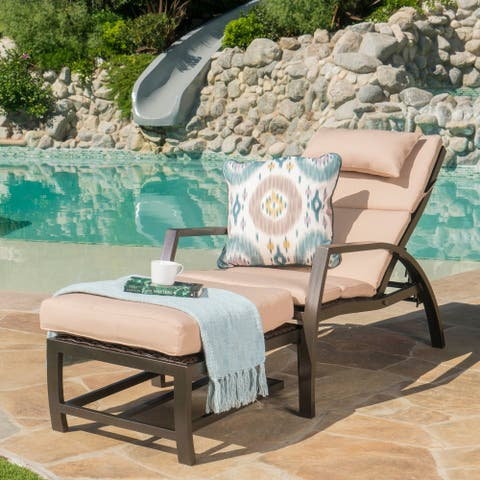 Napa Outdoor Aluminum Wicker Chaise Lounge with Cushion by Christopher Knight Home
