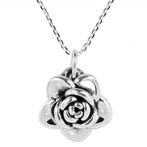 Handmade Adorable Blooming Rose .925 Sterling Silver Necklace (Thailand)