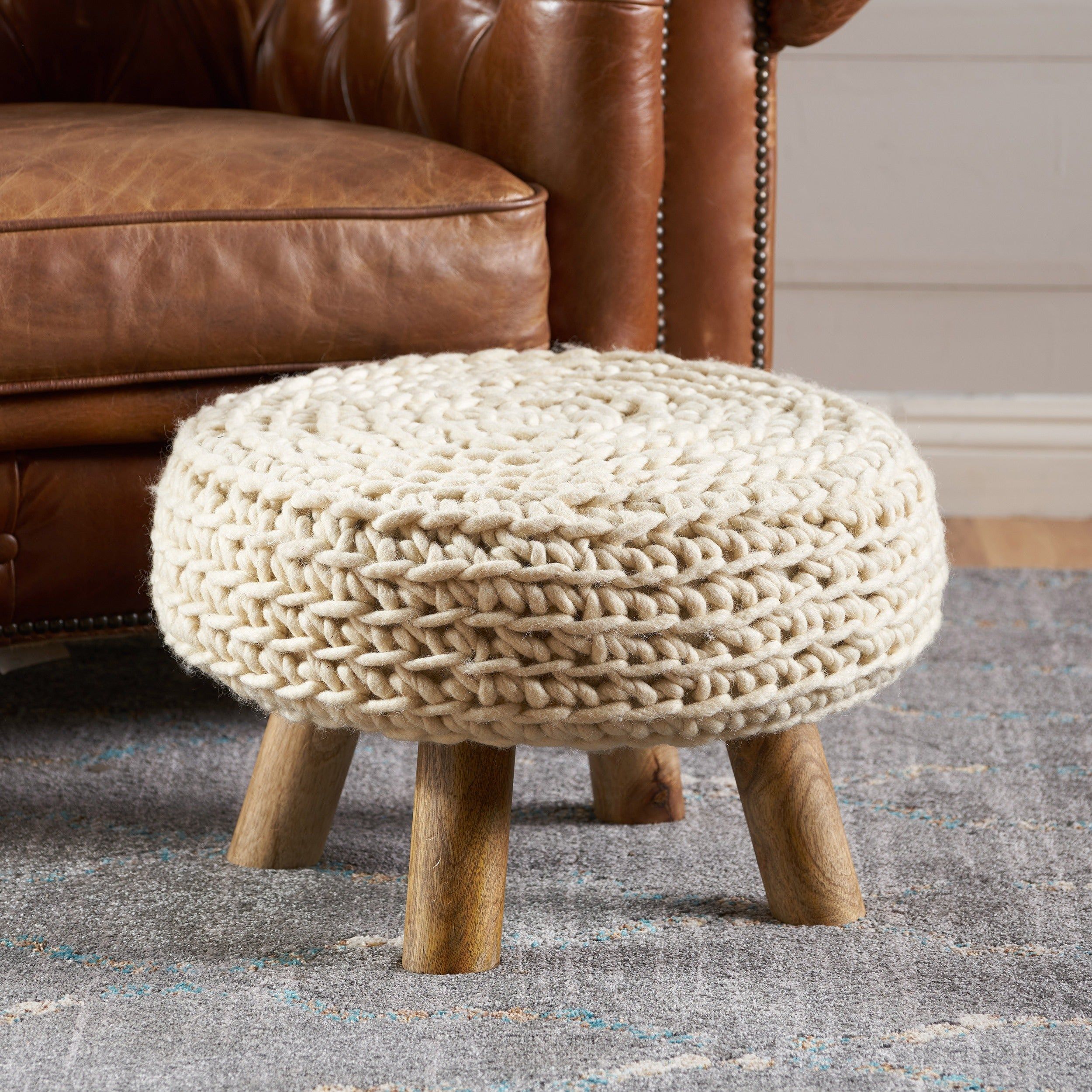 Fabulous Darrow Fabric Round Ottoman Stool By Christopher Knight Home Machost Co Dining Chair Design Ideas Machostcouk