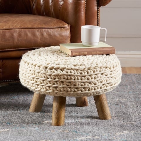 Darrow Fabric Round Ottoman Stool by Christopher Knight Home