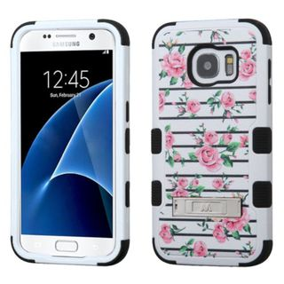 Insten Pink/ White Fresh Roses Tuff Hard PC/ Silicone Dual Layer Hybrid Case Cover with Stand For Samsung Galaxy S7