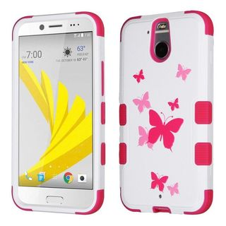 Insten Pink/ White Butterfly Dancing Tuff Hard PC/ Silicone Dual Layer Hybrid Rubberized Matte Case Cover For HTC 10 EVO / Bolt
