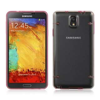 Insten Clear/ Hot Pink TPU Rubber Candy Skin Case Cover For Samsung Galaxy Note 3