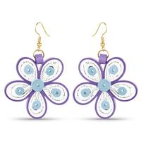 Liliana Bella White & Purple Paper Quilling Handmade Dangle Earrings
