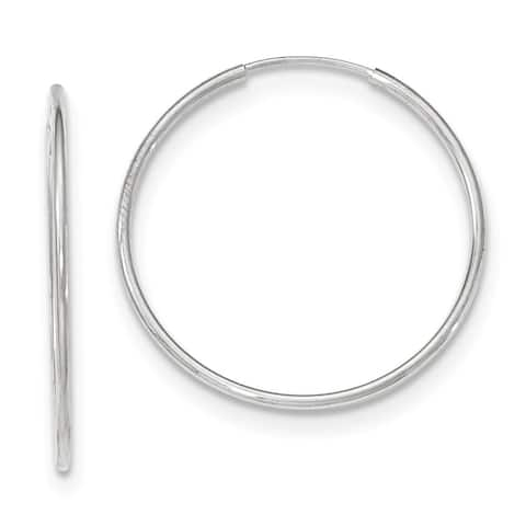 10K White Gold Polished 32mm Endless Round Hoop Hollow Earrings by Versil