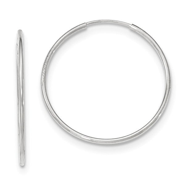 10K White Gold Polished 32mm Endless Round Hoop Hollow Earrings by Versil. Opens flyout.