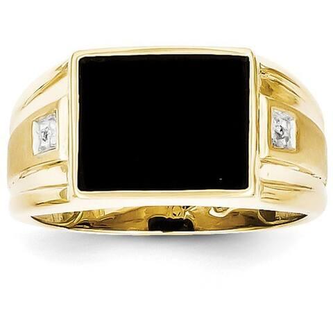 Versil 10 Karat Men's Diamond and Black Onyx Ring