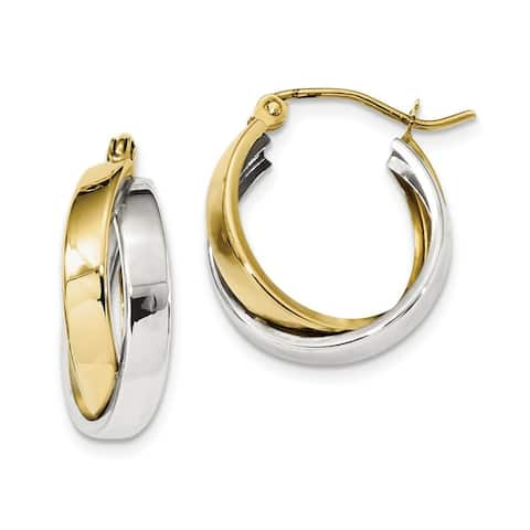 10K Two-tone Polished Double Twisted Hoop Earrings by Versil