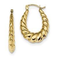 10 Karat Polished Twisted Hollow Hoop Earrings