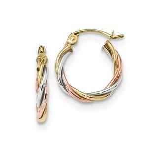 10 Karat Tri-color Polished 2.5mm Twisted Hoop Earrings