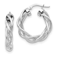 10 Karat White Gold Polished Twisted Hoop Earrings